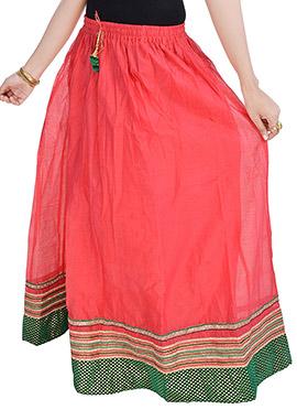 Cotton Peachish Red Skirt