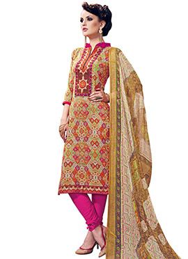 Cotton Printed Multicolored Churidar Suit