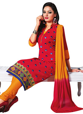 Cotton Red Embroidered Churidar Suit