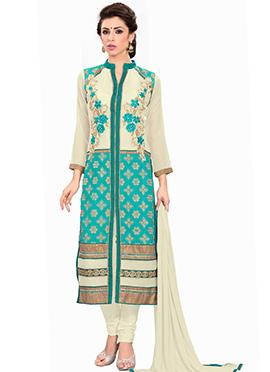 Cream And Turquoise Churidhar Suit