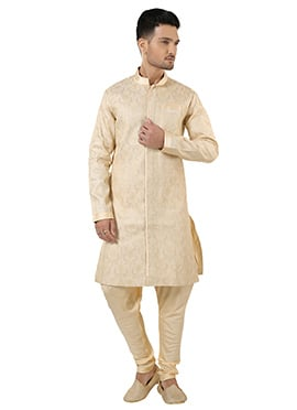 Cream Art Silk Brocade Kurta Pyjama