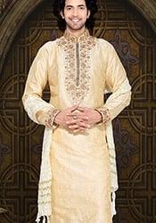 Cream Art Silk Kurta Pyjama
