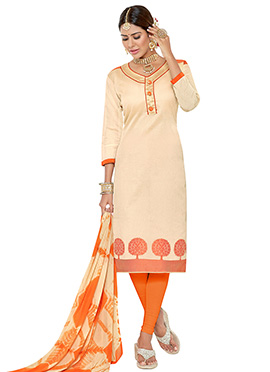 Cream Benarasi Jacquard Churidar Suit