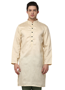 Cream Blended Cotton ethnic kurta from Home India