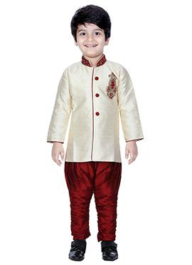 Cream Breeches Style Kids Sherwani