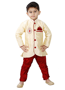 Cream Breeches Style Kurta Pyjama