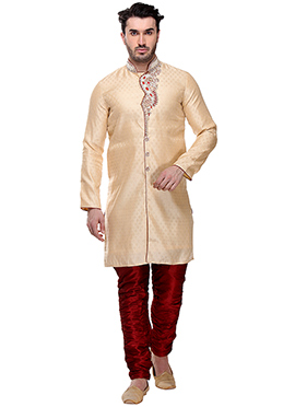 Cream Breeches Style Sherwani