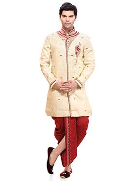 Cream Brocade Jacquard Dhoti Style Sherwani