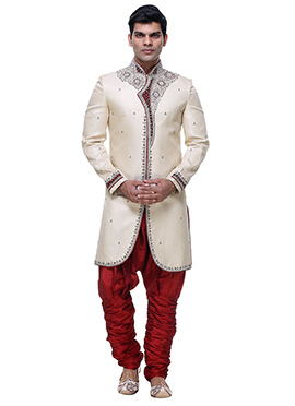 Cream Brocade Sherwani