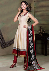 Cream Chanderi Anarkali Suit