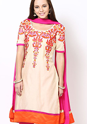 Cream Chanderi Churidar Suit