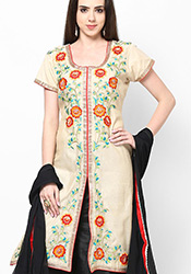 Cream Chanderi Plus Size Palazzo Suit