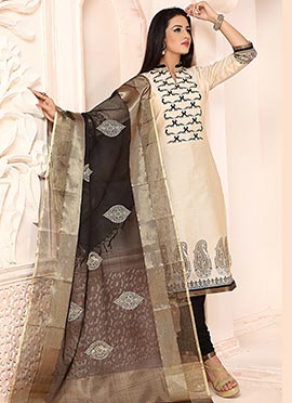 Cream Chanderi Silk Churidar Suit