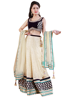Cream Chantilly Net A Line Lehenga Choli