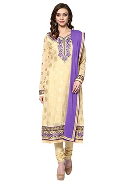Cream Cotton Churidar Suit Home India