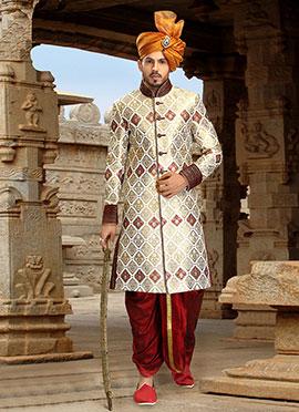 Cream Dhoti Style Sherwani