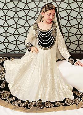 Cream Embroidered Anarkali Suit