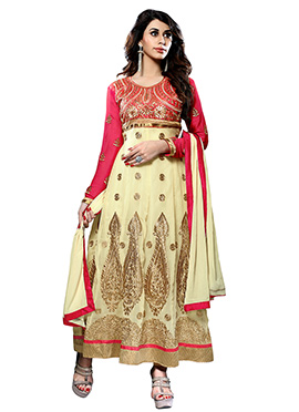 Cream Embroidered Ankle Length Anarkali Suit
