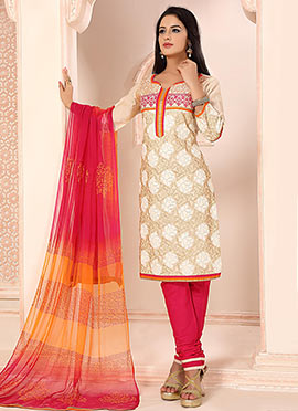 Cream Embroidered Chanderi Silk Churidar Suit
