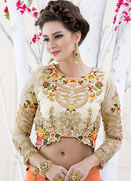 Cream Embroidered Foliage Art Silk Blouse