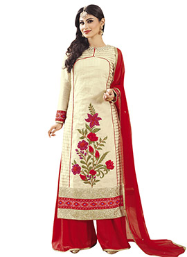 Cream Embroidered Mouni Roy Palazzo Suit