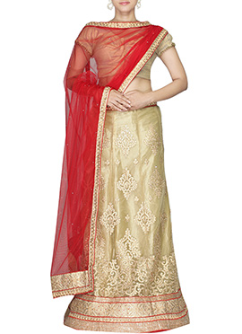 Cream Embroidered Net A Line Lehenga Choli