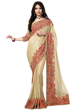 Cream Embroidered Shimmer Net Saree