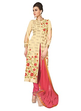 Cream Georgette Embroidered Straight Suit