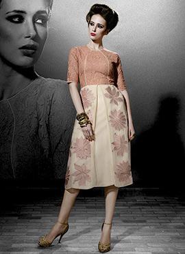 Cream Georgette Embroidered Tunics