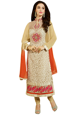Cream Georgette Straight Suit