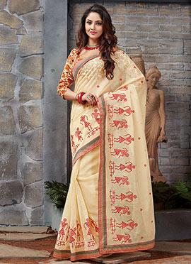 Cream Kota Silk Printed Saree