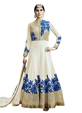 Cream N Blue Embroidered Georgette Anarkali Suit