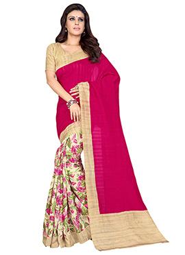 Cream N Dark Pink Art Silk Half N Half Saree