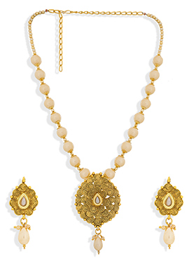 Cream N Golden Colored Necklace Set