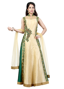 Cream N Green Dupion Silk Anarkali Suit