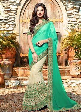 Cream N Green Embroidered Half N Half Saree