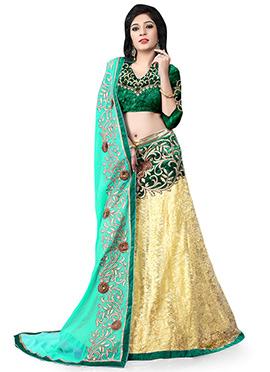 Cream N Green Net Lehenga Choli