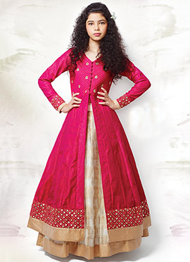 Cream N Hot Pink Long Choli Lehenga