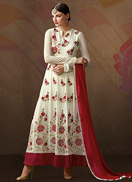 Cream N Maroon Georgette Anarkali Suit