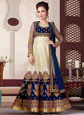 Cream N Navy Blue Floor Length Anarkali Suit