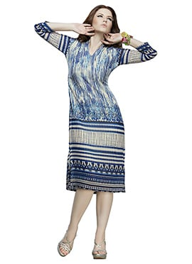 Cream N Navy Blue Georgette Kurti