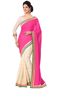 Cream N Pink Half N Half Saree