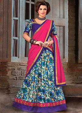 Cream N Purple Bhagalpuri Silk Lehenga Choli