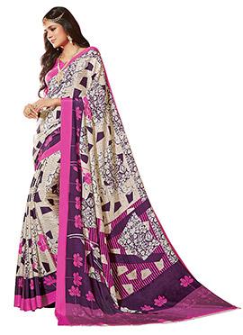Cream N Purple Printed Saree