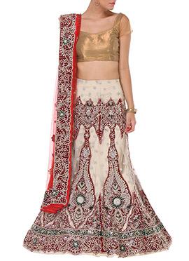 Cream N Red Embellished A Line Lehenga Choli