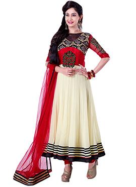 Cream N Red Georgette Anarkali Suit