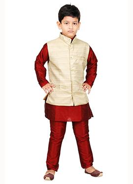 Cream N Red Kurta Pyjama