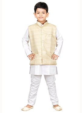 Cream N White Kurta Pyjama