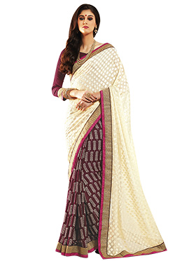 Cream N Wine Half N Half Saree