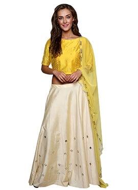 Cream N Yellow Cotton Silk Lehenga Choli